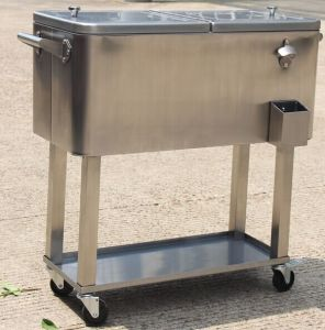 80 Qt Rolling Patio Stainless Steel Cooler With Cork Base
