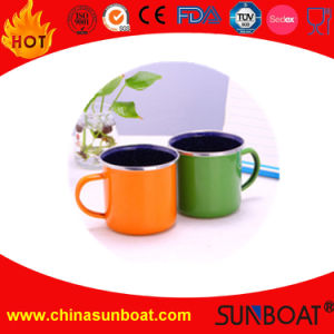 Carbon Steel Material Enamel Mug with Stainless Steel Folding Rim