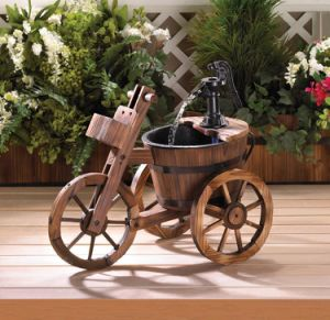 Tricycle Barrel Fountain with Pump Garden Patio Water Feature pictures & photos