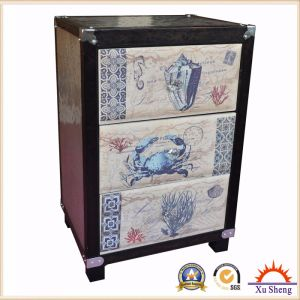 3-Drawer Metal and Wood Cabinet with Fabric Marine Print