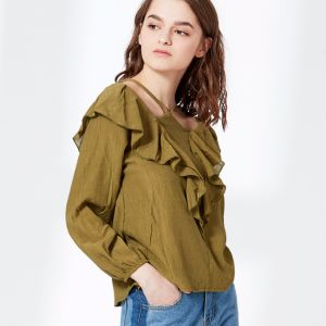 Ladies Fashion Sexy Hollow Neck Halt Top Ruffle Blouse 1 pictures & photos