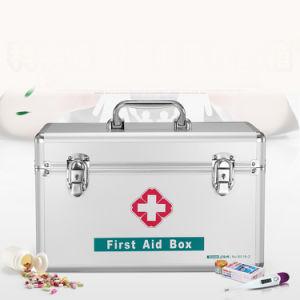 Aluminum Portable Medical First Aid Kit Storage Box with Shoulder-Belt