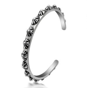 Retro Men Bracelets Flower Pattern 316L Stainless Steel