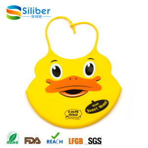 Silicone Baby Feeding Bibs with Food Catcher Pocket, Unisex Waterproof Bib
