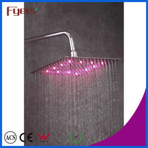 Fyeer LED Slim Rainfall Shower Head Bathroom Faucet Color Changed by Water Temperature pictures & photos