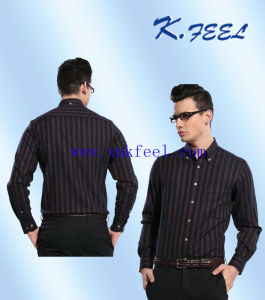 Dress Shirt with Black Stripe Cotton for Business Man