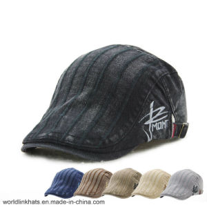 54cb9e23e88bfa China Customized Cotton Striped Beret Wholesale Short Brim IVY Caps ...