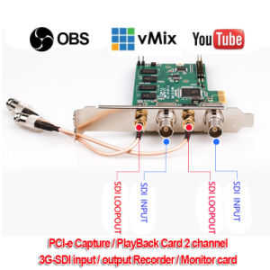 PCI-E2SL 3G-SDI Input Capture Card, 2CH Input/2CH Loopout 1080P/60Hz Vmix /  Xsplit / Vlc / Virtualdub / Vidblaster / Obs Live Streaming Game Video
