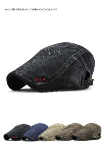 e270ebf675575 China Plain Denim Fabric 2D Embroidery Dad Cap Fashion Ivy Cap ...