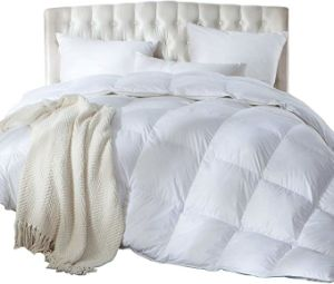 Cotton Quilted Down Comforter White Goose Duck Down and Feather Filling - All Season Insert or Stand-Alone Duvet Bedding Set Shell 90 Down Quilt
