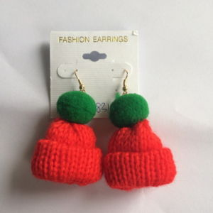 Lovely Small Cotton Thread Hat Orange&Green Earring Fashion Jewelry