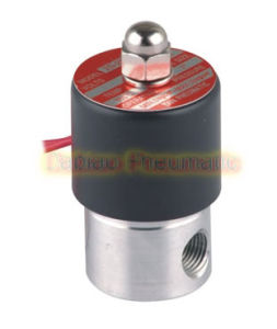 "2 Way Solenoid Valve 1/4"" Ports Stainless Steel Normally Closed FKM Oil Acid AC220V"