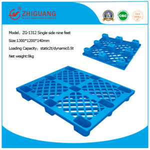 1300*1200*140mm HDPE Nine Feet Plastic Pallet Single Side Stacking Plastic Pallet for Warehouse Products (ZG-1312) pictures & photos