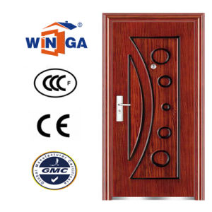 Iran Classic 0.8mm Wood Color Metal Security Steel Door (W-S-71) pictures & photos