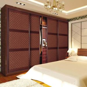Big Living Room Wood Wardrobes with Four Leather Sliding Door