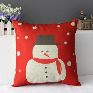 New Arrival Printed Christmas Element Cotton Linen Cushion Cover Wholesale