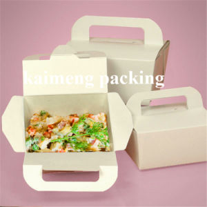 Food Grade White Card Plain Paper Folding Box with Handle Package