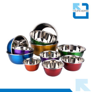 Colourful Stainless Steel Deep Salad Bowls & Mixing Bowls pictures & photos