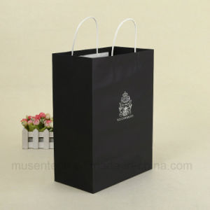 Silver Stamping Black Color Paper Gift Bags With Handles