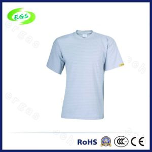 Factory Supply 100% Cotton ESD T Shirts with Short Sleeve pictures & photos