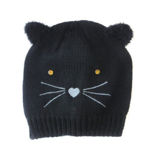 Acrylic Knitted Hat in Cat Pattern