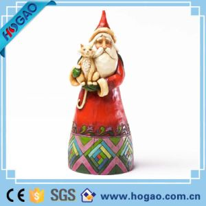 Wholesale Indoor New Christmas Santa Claus with Lantern Resin Figurine pictures & photos