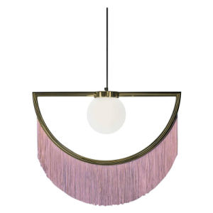 Fancy Modern Decorative Fabric Shade Hanging Lamp Stylish Dreamy Pink Tassel Fringe Half Pendant Lighting for Dining Room