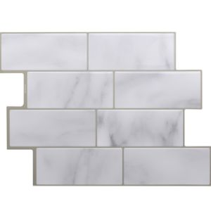 Astonishing Self Adhesive Popular Resist To Heat And Humidity 3D Carrara White Peel And Stick Backsplash Wall Tiles Home Remodeling Inspirations Basidirectenergyitoicom