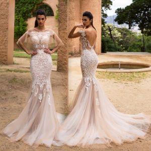 Sheer Shawl Bridal Gowns Lace Mermaid Wedding Dress 2018 Yao122