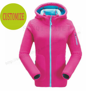 Fleece Lady Coat Clothes with Hood and Zipper in Fashion Sports Outwear Fw-8812