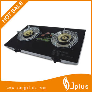 2-Burner Tempered Glass Top Brass Cap Gas Cooker/Gas Stove Jp-Gcg268 pictures & photos