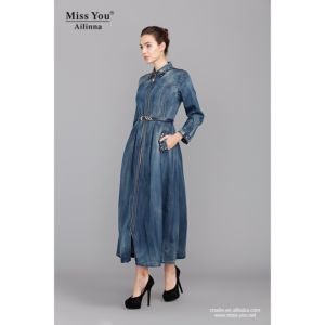 Miss You Ailinna 801936 Ladies Fashion New Denim Long Sleeve Beaded Dress with Belt pictures & photos