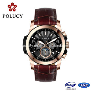 Custom Genuine Leather Large Face Plating Men Chronograph Watch pictures & photos