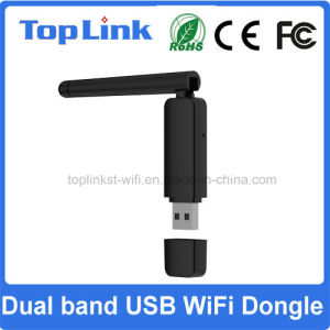 Top-GS07 Rt5572 Dual Band 802.11 Abgn Wireless USB WiFi Dongle with External Foldable 2dBi Antenna