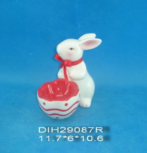 Hand-Painted Ceramic Rabbit with Egg Holder pictures & photos