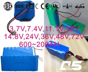 3.7V, 7.4V, 11.1V, 12V, 14.8V, 24V, 36V, 48V, 72V Li-ion 18650, Cylindrical, Rechargeable, LiFePO4, Lithium Battery pictures & photos