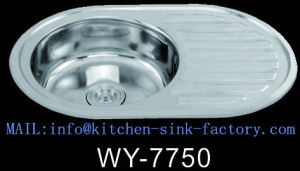 Lithuania Wy-7750 Oval Shape Round Kitchen Sinks Stainless Steel with  Drainboard Wenying Factory