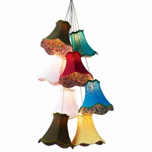 Clusters of Hanging Lamps 8 Heads Fabric Chandelier Pendant Lamp/Colourful Cloth Chandelier Pendant Lamp/Fabric Lamp Shades