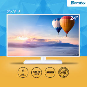"23.6"" Cheap Price Pure White Cabinet LED TV Latest Model"