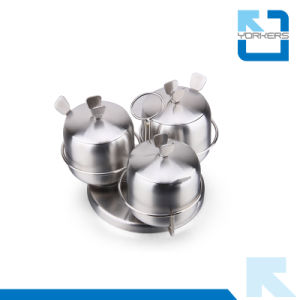 Hot Sale 3 Pieces Stainless Steel Rotating Spice Jar Set pictures & photos