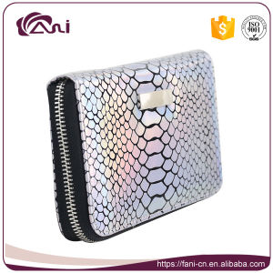 Silver Pink Color Fish Skin Wallet Purse, Zip Wallet for Women pictures & photos