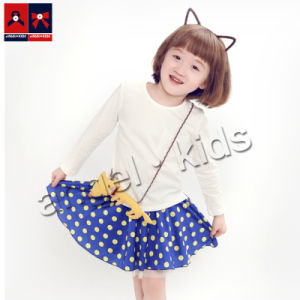Girls Short Skirt Double-Deck Skirting with DOT Printed for Summer