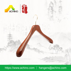 Glossy Mahogany Wooden Wide Shoulder Clothes Hanger (ACH114) pictures & photos