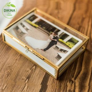 Wholesale Jewelry Cosmetic Custom Organic Glass Acrylic Makeup Case Clear Drawer Mirror Lids Small Wood Gift Box
