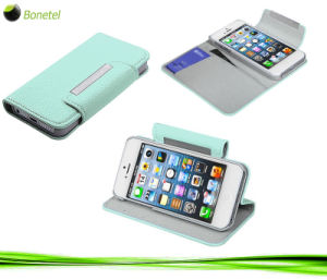 Leather Wallet Kickstand for iPhone 5 (Light blue)