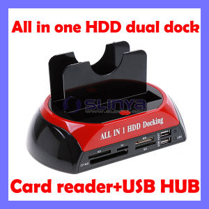 "All in One 2.5"" 3.5"" IDE/SATA HDD Dual Dock Docking Station USB Hub Card Reader pictures & photos"