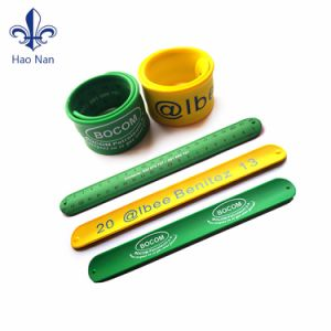 Fashion Custom Printed Logo 100% Silicone Slap Wristband pictures & photos