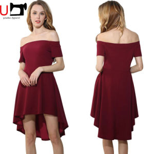 Mature Women Evening Party off Shoulder Solid Color Sexy Dresses Women Lady