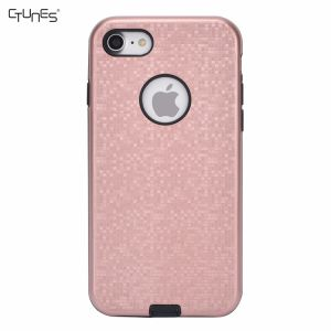 Grid Pattern 2 in 1 Dual Layer Anti-Scratch Hybrid Hard PC TPU Bumper Shockproof Protective Cover Case for iPhone8 Plus
