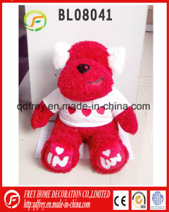 Cute Red Plush Toy Dog with Tshirt